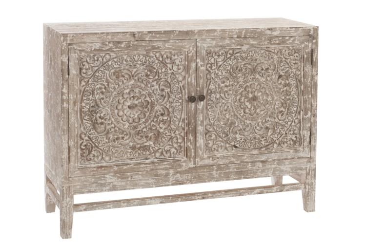 meuble en bois brut blanchi