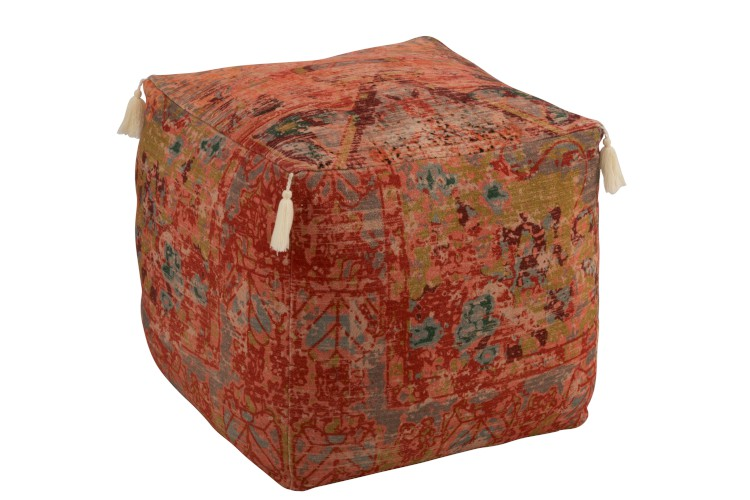 pouf rose orange rouge de style oriental
