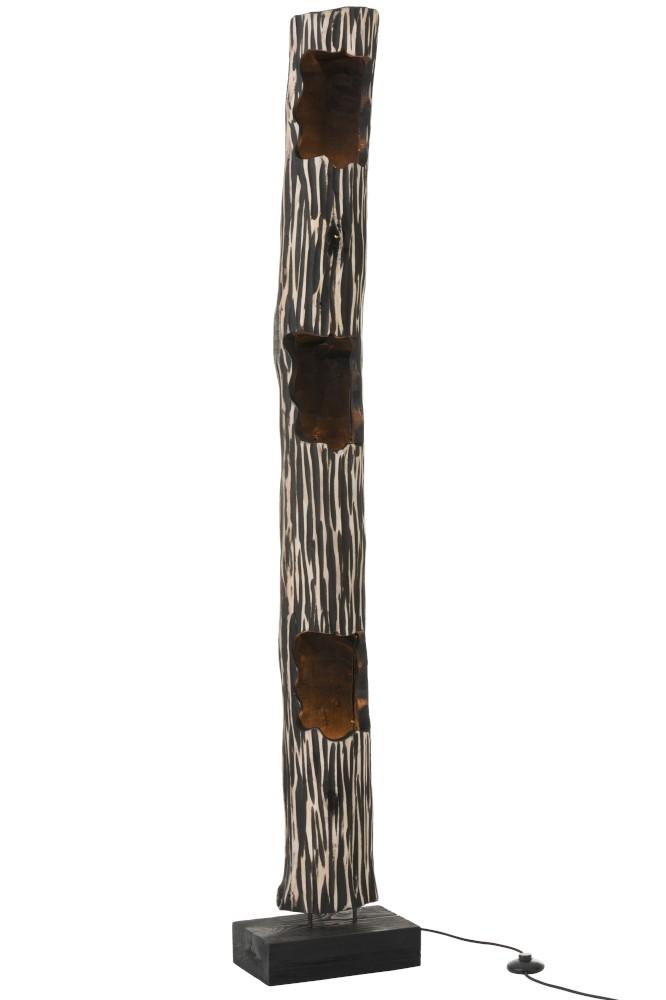 lampe en bois de style ethnique noir et blanc