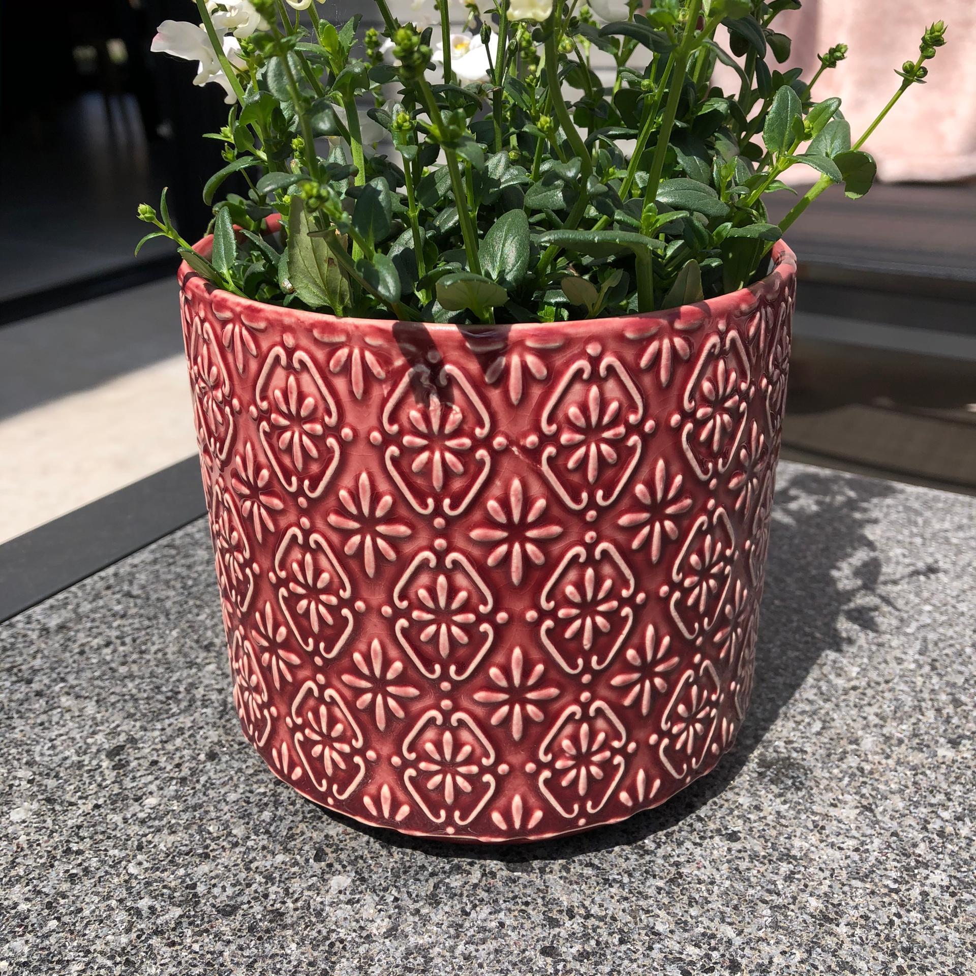 cache-pot rouge cerise