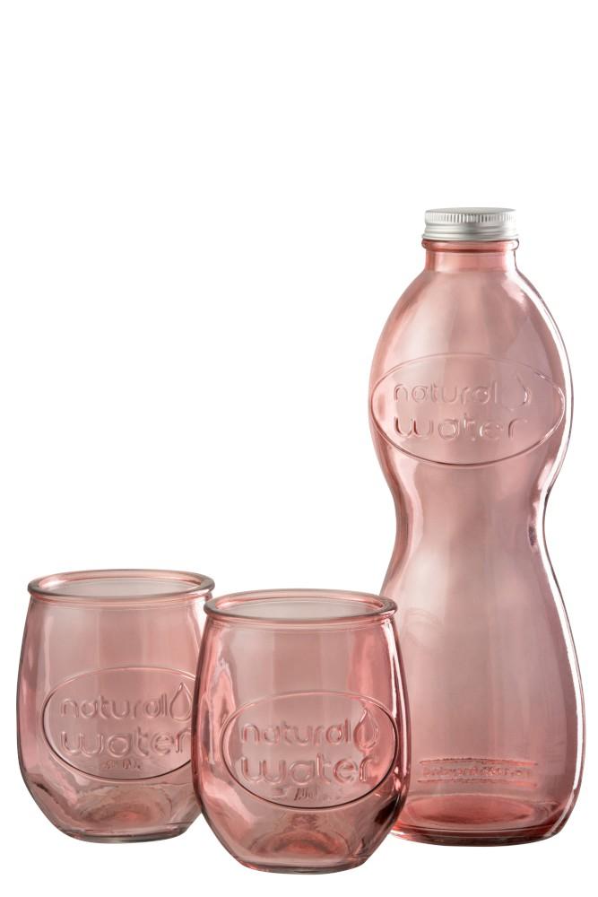 verre et bouteille en verre transparent rose