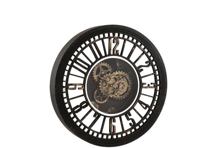 horloge noire de style industriel.