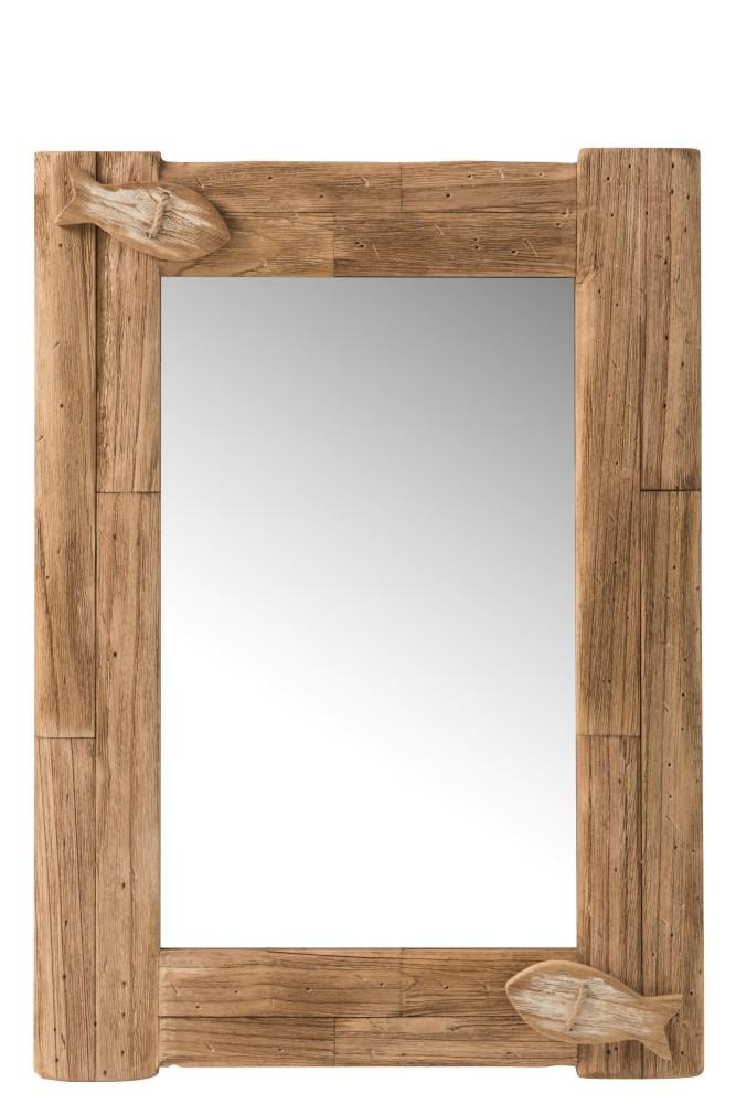 miroir en bois de style marin avec poissons