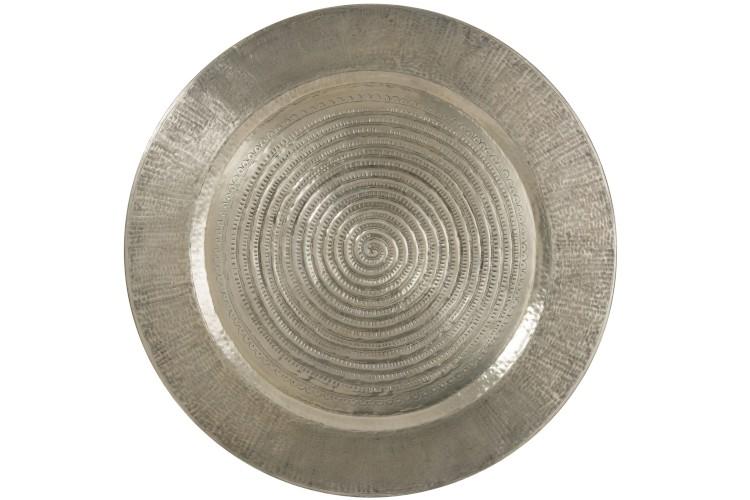 plateau en métal gris martelé