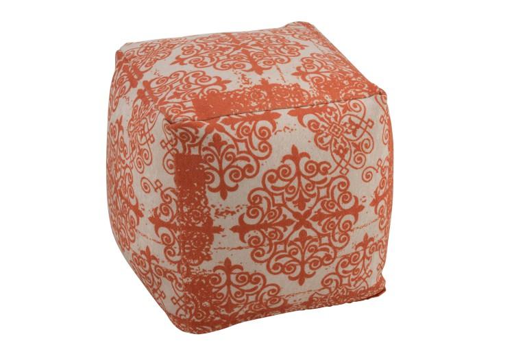 pouf style oriental orange et beige
