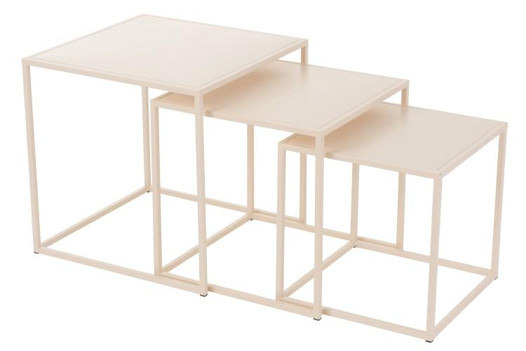 tables gigognes en métal blanc