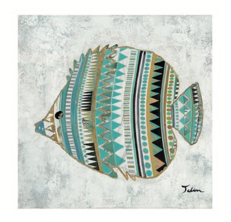 peinture murale avec dessin de poisson dans les tons de bleu et turquoise