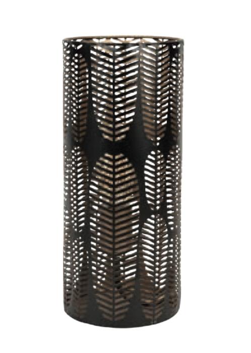 lampe à poser en métal noir style tropical