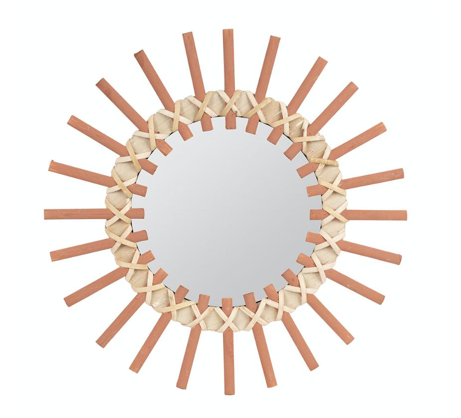 miroir en rotin orange naturel