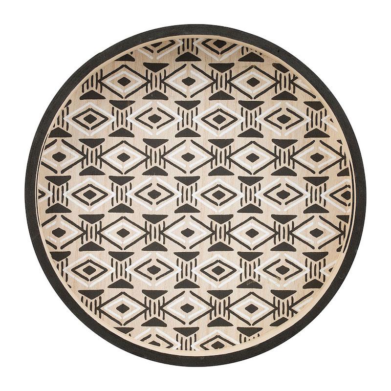 plateau rond en bois de style ethnique noir et blanc
