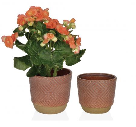 Cache-pot de couleur terracotta