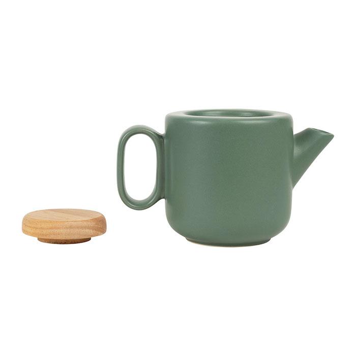 théière en céramique et bambou de couleur verte avec filtre inclus