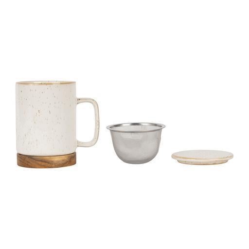 tasse à thé en céramique blanche avec filtre inclus
