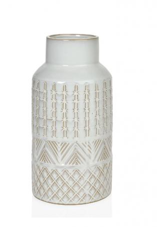 vase blanc et beige de style bohème et ethnique